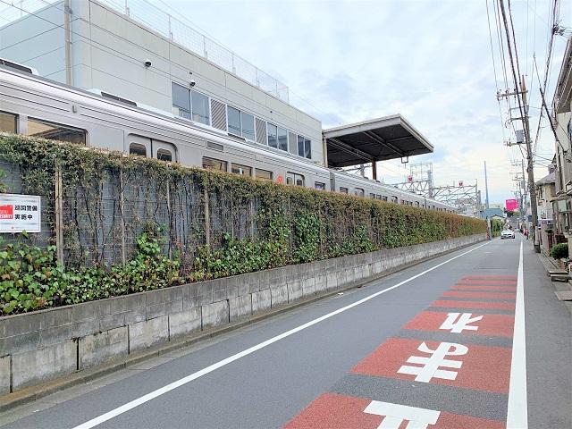 雪谷大塚駅付近で電車が見える道